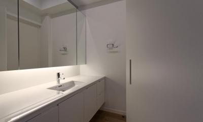 那須の家 (白で統一された洗面室)