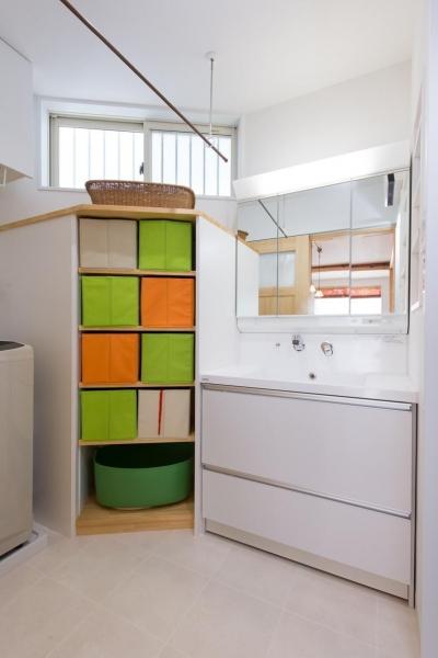 洗面脱衣所 (自然素材でスケルトンリフォーム!増築し、耐震補強も)