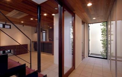 エントランス・玄関・ライトコート・リビング・ダイニング・キッチン (オープンテラスの家・OPEN TERRACE HOUSE 東京都世田谷区)