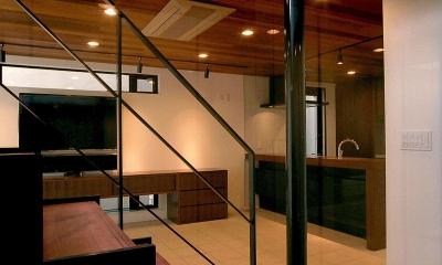 オープンテラスの家・OPEN TERRACE HOUSE 東京都世田谷区 (玄関・リビング・ダイニング・キッチン・階段)