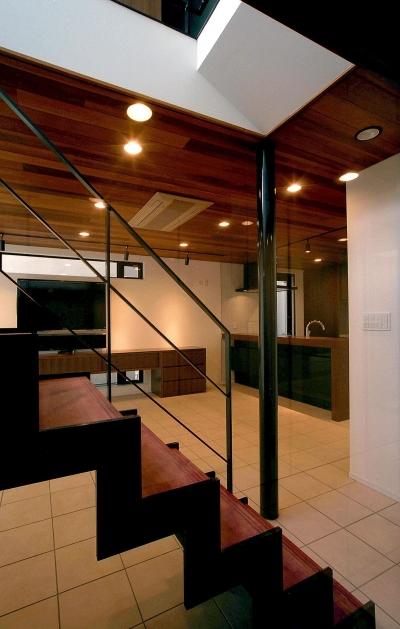 玄関・リビング・ダイニング・キッチン・階段 (オープンテラスの家・OPEN TERRACE HOUSE 東京都世田谷区)