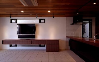 オープンテラスの家・OPEN TERRACE HOUSE (リビング・ダイニング・キッチン)