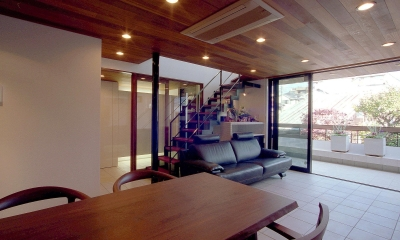 オープンテラスの家・OPEN TERRACE HOUSE 東京都世田谷区 (リビング・ダイニング・テラス2)