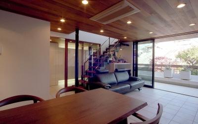 オープンテラスの家・OPEN TERRACE HOUSE (リビング・ダイニング・テラス2)