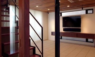 オープンテラスの家・OPEN TERRACE HOUSE 東京都世田谷区 (リビング・階段)
