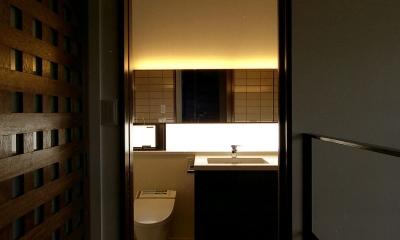 オープンテラスの家・OPEN TERRACE HOUSE 東京都世田谷区 (階段ホール・洗面室)