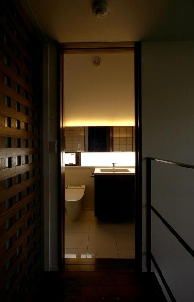 オープンテラスの家・OPEN TERRACE HOUSE (階段ホール・洗面室)