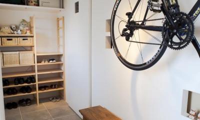 g'appa-廊下をつくらず、洗面所もオープンに (玄関)