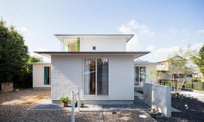 緩やかな勾配で軒を出した屋根|Three huts house