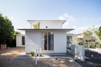 Three huts house (緩やかな勾配で軒を出した屋根)