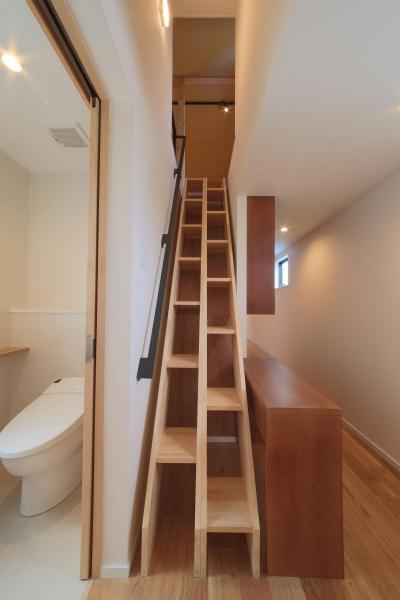 2Fロフト梯子 (ウッドテラスの家・WOOD TERRACE HOUSE 東京都杉並区)