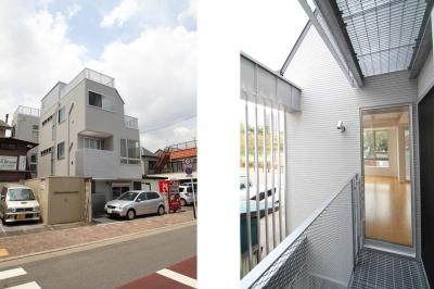 中庭のある3階建ての家 (外観|東京都北区)