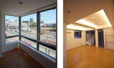 借景・間接照明|東京都北区|中庭のある3階建ての家
