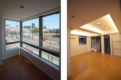 中庭のある3階建ての家 (借景・間接照明|東京都北区)
