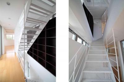 スケルトン階段|東京都北区 (中庭のある3階建ての家)