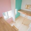 公園前の2世帯の住まいの写真 壁の色がカラフルな子供部屋