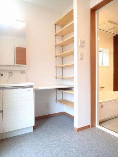 パウダールーム兼洗面室 (耐震等級・省エネ等級を高めた人に地球にやさしい家)