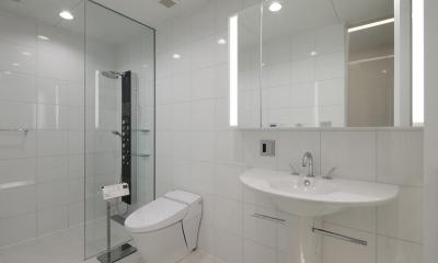 清潔感のあるシャワールーム、トイレ、洗面台|HACHIMAN-COMPLEX