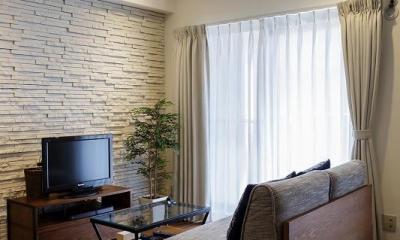 リビング|室内窓がつなぐリビングと書斎