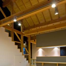 田園風景まっただ中の家 (リビングにある階段のデザイン)