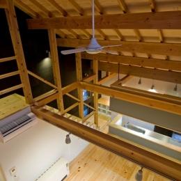 田園風景まっただ中の家 (2階からリビングを見下ろす)