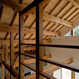田園風景まっただ中の家-構造体をみせる空間
