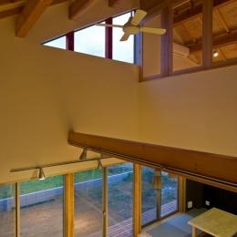 田園風景まっただ中の家-三角形のハイサイドライトがアクセントの吹き抜け空間
