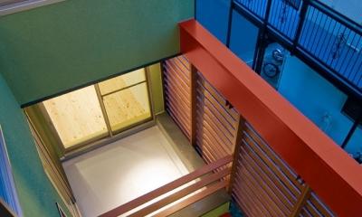 陽が降り注ぐライトコートのある家/東京都阿佐ヶ谷の家 (3階よりライトコート見下ろし)