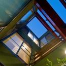 陽が降り注ぐライトコートのある家/東京都阿佐ヶ谷の家の写真 ライトコートの見上げ(3層)