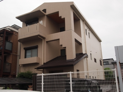 大阪市住吉区 3階建て鉄骨リフォーム (外壁)
