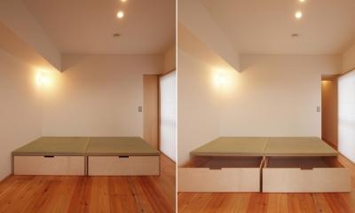 引き込み障子と小上がり畳の可変性を持たせたリノベーション (110cm角の小上がり畳)