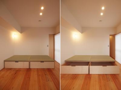 110cm角の小上がり畳 (引き込み障子と小上がり畳の可変性を持たせたリノベーション)