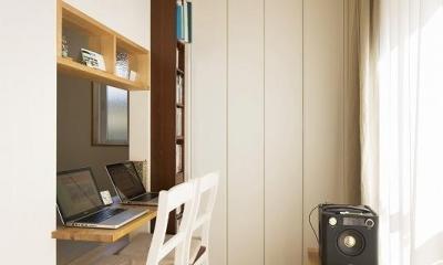 カウンターデスク|小上がりの畳スペースを有効活用