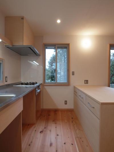 施主さんがつくり上げる造作キッチン (DIYを愉しむワークスペースのある戸建てリフォーム)
