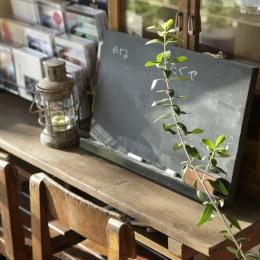 白×茶のコントラストがモダン。レトロな家具が映える (レトロな学校机や椅子)