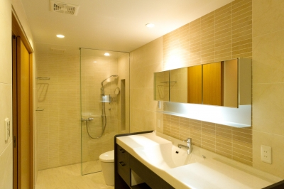 洗面化粧室 (和風旅館を思わせる家)