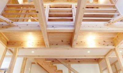 さくら 〜薪ストーブのある木の家〜 (リビングダイニング(リビング階段・吹き抜け))