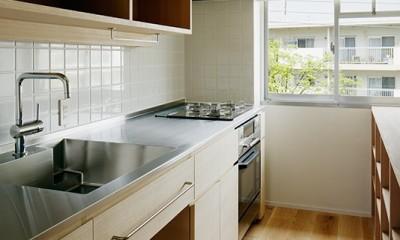 素朴で品格のある団地リノベーション (明るい光の差し込むキッチン)