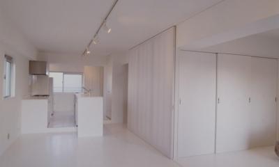801号室 (引戸によって仕切られるLDKと寝室)