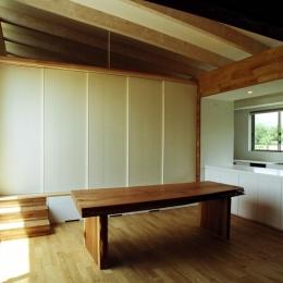 塩原の週末の家-勾配天井のダイニング