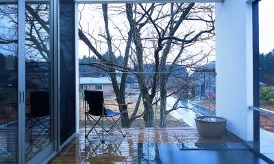 塩原の週末の家 (GLより一段あげることでプライバシーを保った露天風呂)