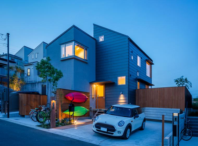 暁の家 [2015]の写真 自然と共生する家-ライトアップ