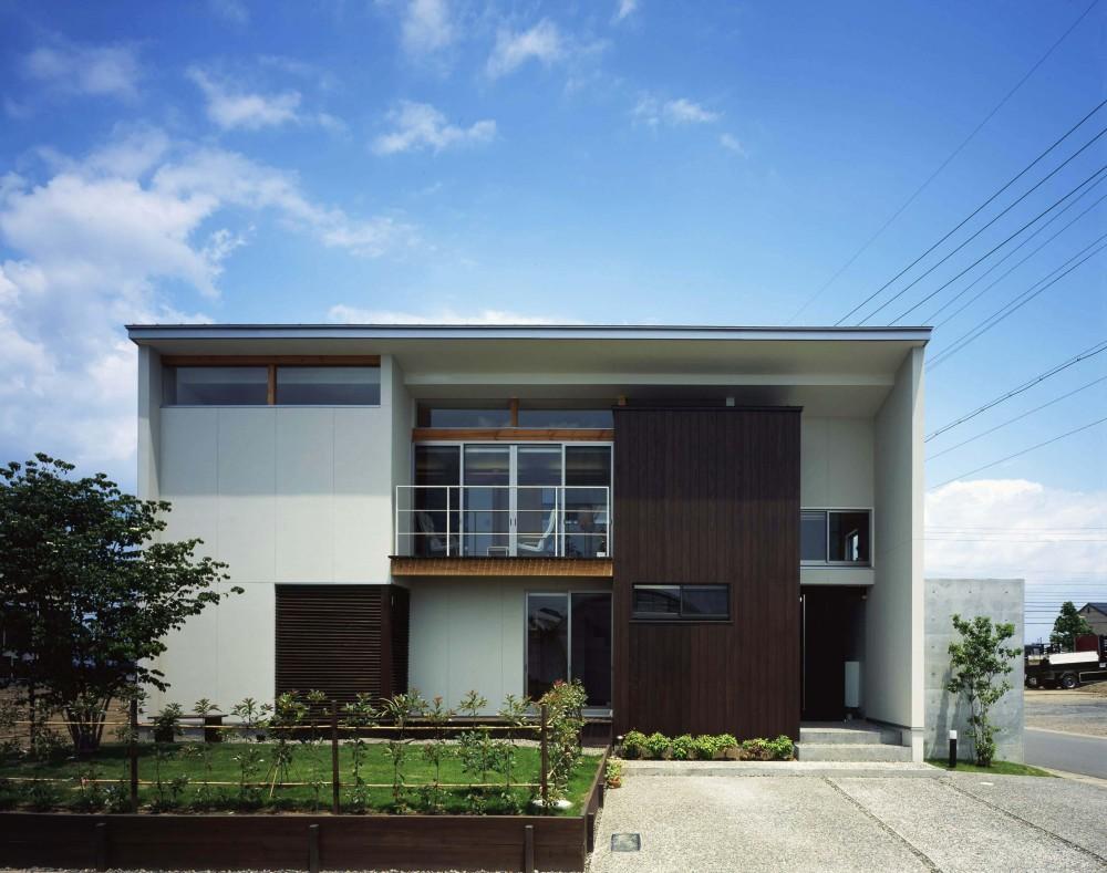 西中島の家 (木と白壁の調和された やさしさのある外観)