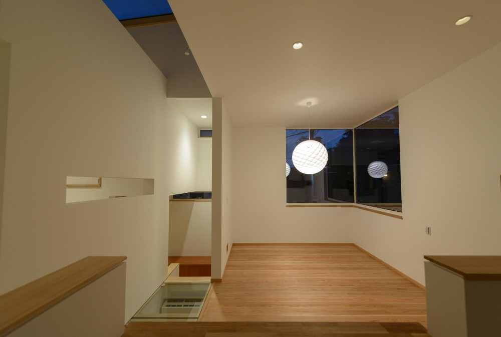 Light Well Box/Hideさんのスキップフロアー住宅 (リビング・ダイニング)