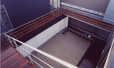 中村の家 (屋上から中庭を見下ろす)