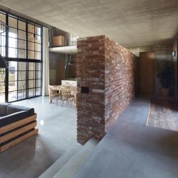 森町の家 / インダストリアルデザインと自然を取り込むコンクリートハウス (玄関)