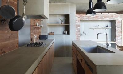 森町の家 / インダストリアルデザインと自然を取り込むコンクリートハウス (キッチン)