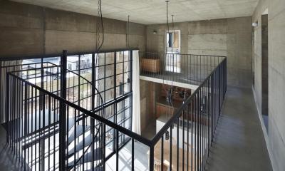 森町の家 / インダストリアルデザインと自然を取り込むコンクリートハウス (廊下)