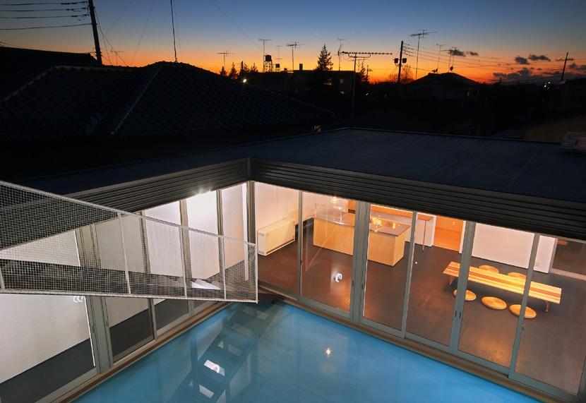 水庭の家の部屋 屋上から見た夕景