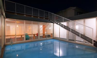 水庭の夕景|水庭の家